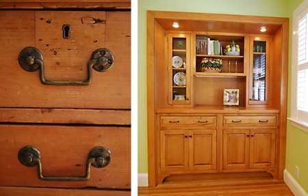 Built-in hutch inspired by antique trunk
