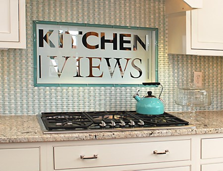 Basketweave backsplash made with aqua to match the Kitchen Views logo at the Warwick, RI showroom