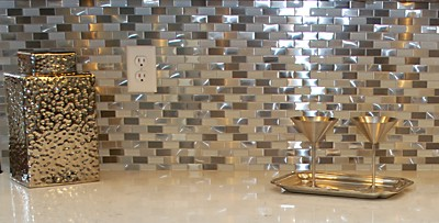 Metallic sparkle backsplash in the bar display at the Kitchen Views showroom in Warwick, RI