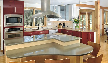 """Two-Tiered Island in kitchen designed by Diane Hersey, featured in the Kitchen Views Magazine article """"Sweet and Savory"""""""