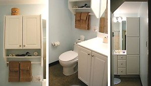 Small cabinet over toilet, small vanity with sink and under counter storage, and storage cabinets in a small bathroom.