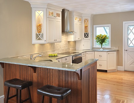 Galley kitchen with seating modern home design and decor - Island or peninsula kitchen ...