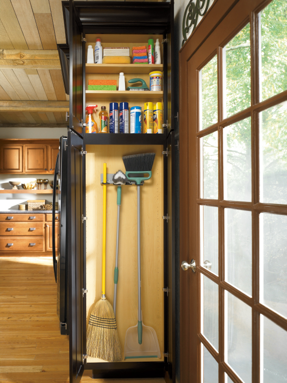 Schrock Utility Organizer Holding Brooms And Cleaning Supplies