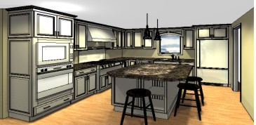 Kitchen Design Layout With Island kitchen layout with island. blue design accent color on cabinets