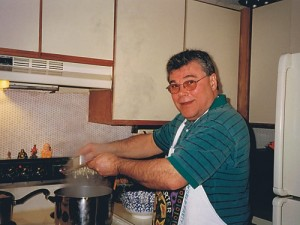 John Molnar cooking in the old kitchen