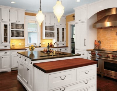 Kitchen Island with Crystal Cabinets