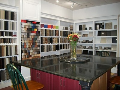 Our countertop selection gallery at our design showroom in Mansfield, MA