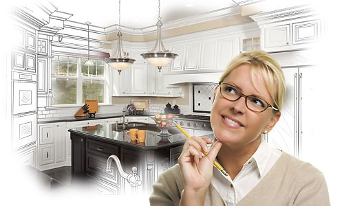 Woman imagining new kitchen design