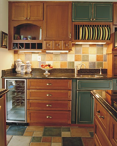 Kitchen pantry with mixed cabinetry