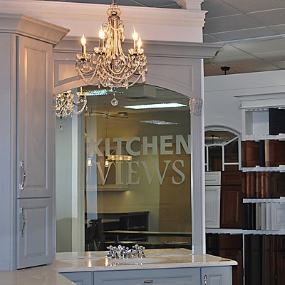 Kitchen Views, Mansfield, MA Showroom - Schrock Vanity with Chandelier