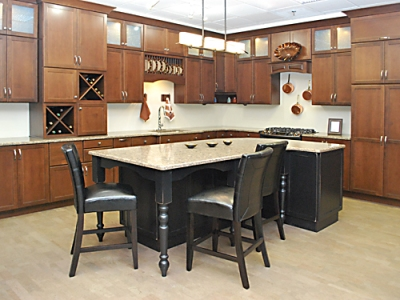 Kitchen Views, Mansfield, MA Showroom - Schrock Kitchen with Silestone Countertops