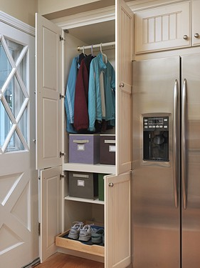 Omega Closet Cabinet in East Greenwich, RI kitchen designed by Lisa Zompa