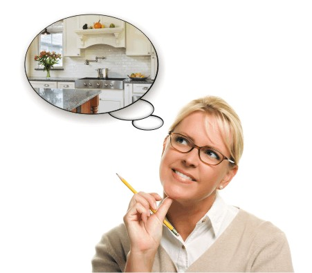Image of woman's thought bubbles dreaming of a new kitchen.