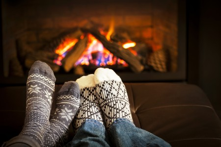 Keeping cozy together by a warm fire