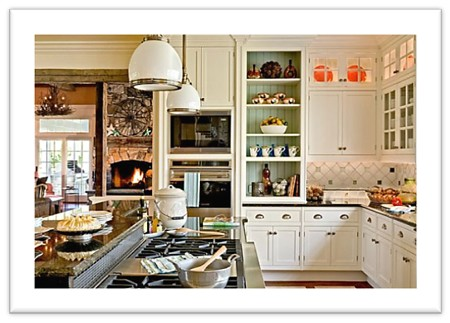Traditional cabinetry details are included in this contemporary open concept kitchen.