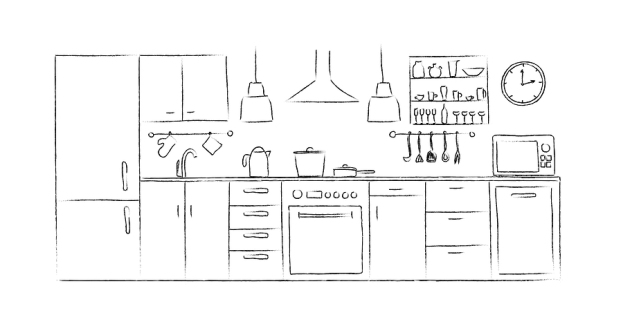 Kitchen interior sketches hand drawing front view. Contour vector illustration kitchen furniture and equipment. Cupboard shelves dishes table lamp clock crane dishwasher fridge microwave.