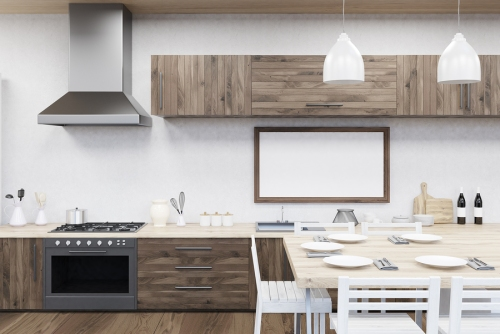 Kitchen interior in modern flat with stove dining table picture on wall. Concept of cooking at home. 3d rendering. Mock up