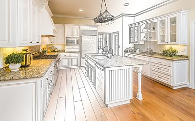 Illustration of custom kitchen design in progress