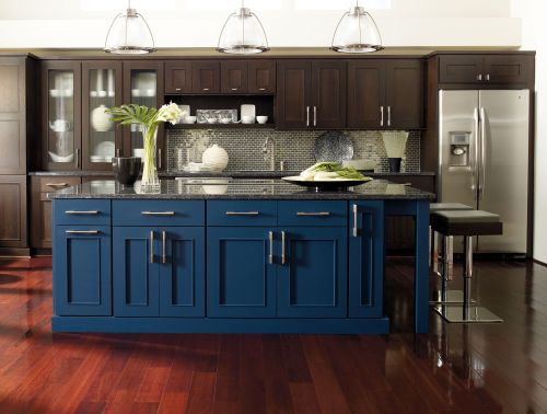 Omega Cabinetry, Blue Island in Dark Wood Kitchen